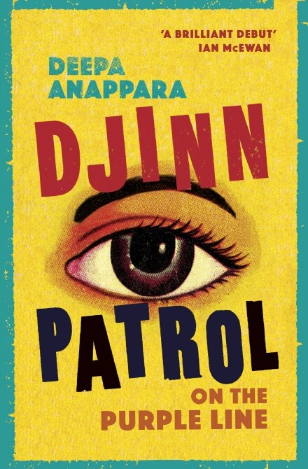 An eye on a yellow background on the cover of Djinn Patrol on the Purple Line