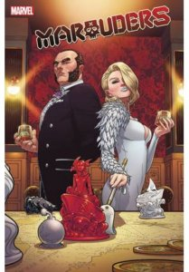 Emma Frost and Sebastian Shaw stand back to back, moving pieces on a map