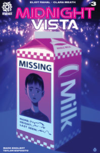 A milk carton featuring the portrait of a missing kid, against a purple-pink background