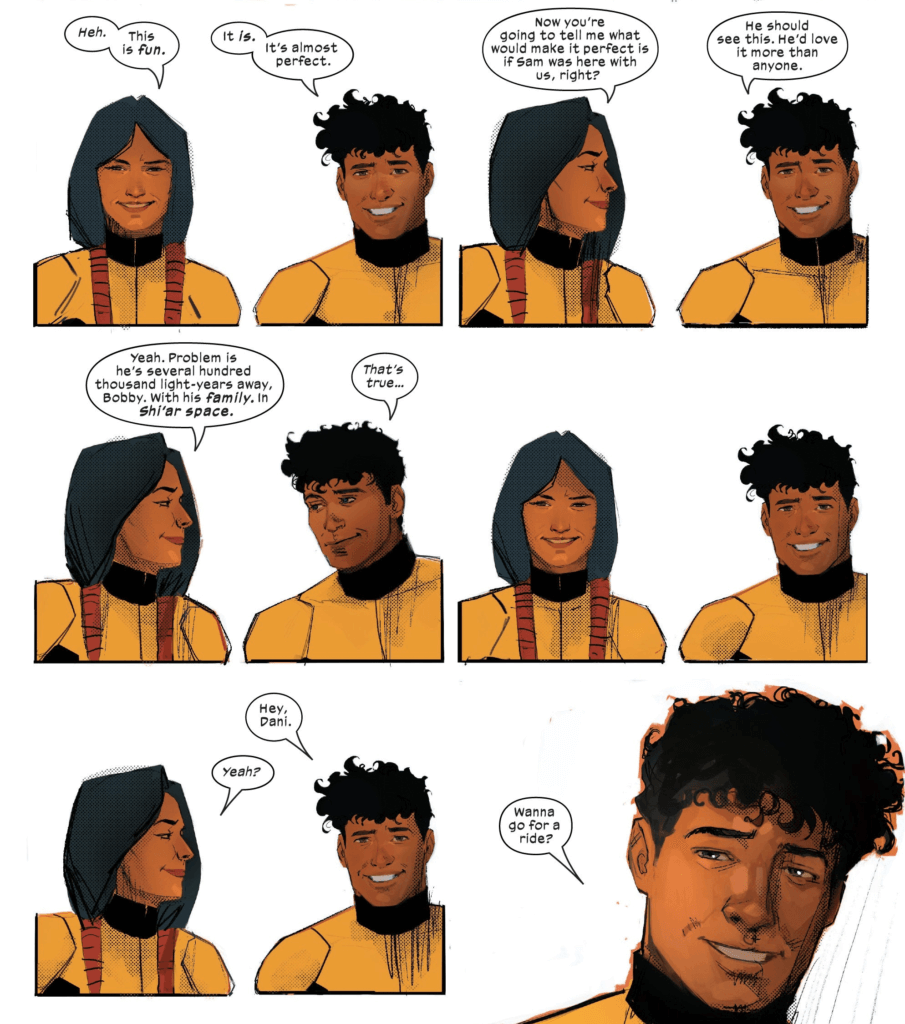Sunspot and Mirage talk about their missing friend in this page by Rod Reis from New Mutants #1.
