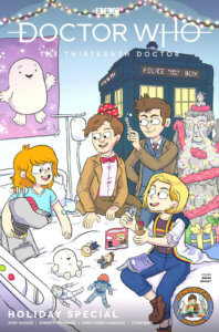 A woman in a hospital bed surrounded by three Doctors, TARDIS, K-9, Cybermen, Weeping Angels, the Adipose