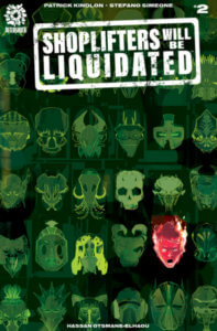 Green headshots of various inhuman skulls, with one face illustrated in red and on fire