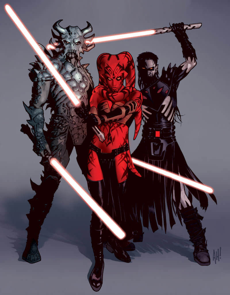 Darth Krayt, Darth Talon, and Darth Nihil wield their light sabers menacingly