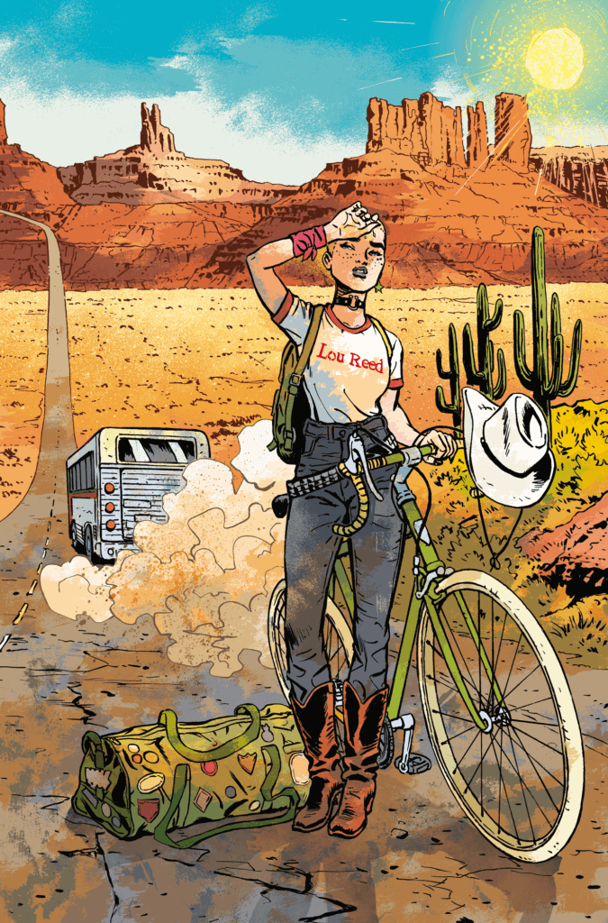 A young woman stands next to her bike in a desert landscape
