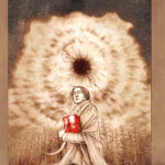 A girl wrapped in furs and blankets holds a red package in her hands. Above her the clouds form a strange vortex with a black void in the centre