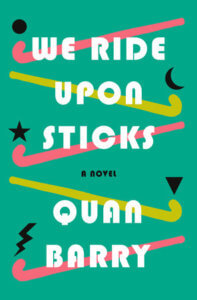 a book cover featuring hockey sticks and symbols including a star, lightning bolt, and crescent moon