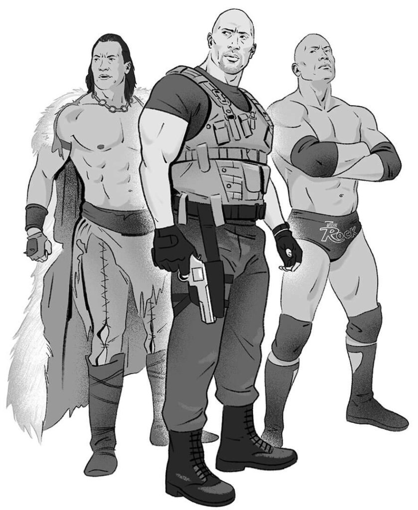Illustration of Dwayne Johnson as the characters The Scorpion King, The Rock, and Luke Hobbs