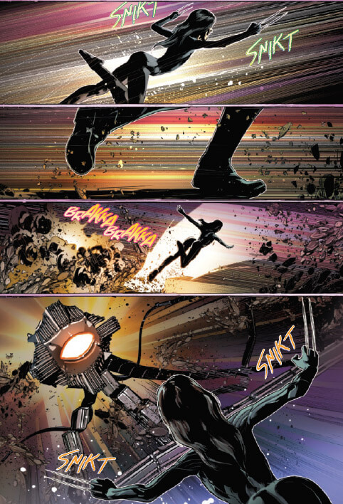 Laura leaping and popping her claws twice on one page - Fallen Angels #3