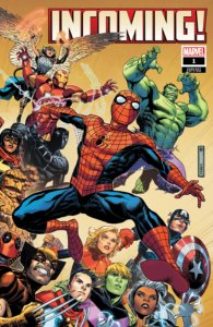 A group of various Marvel heroes leaping forward, with Spider-Man in the forefront