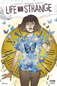 A brunette woman, looking pained, with butterflies flying out of her torso