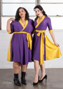 two people show their purple and yellow dresses