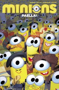 The Minions, in a group, staring and smiling at the reader