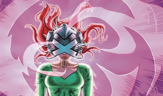 Jean Grey wearing the Cerebro helmet