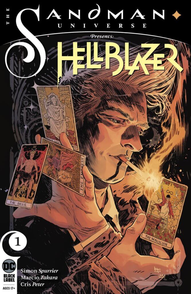 The cover for The Sandman Universe Presents: Hellblazer #1, showing John Constantine holding the Heirophant, Empress, Devil, and Magician tarot cards.