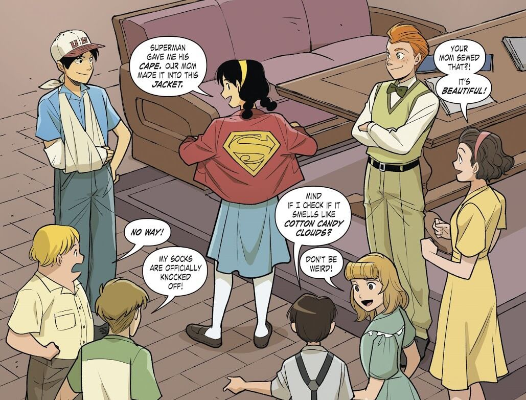 Panel from Superman Smashes the Klan Part Two by Gene Luen Yang (writer), Gurihiru (artists), and Janice Chiang (letterer) depicting Roberta Lee showing off her new jacket