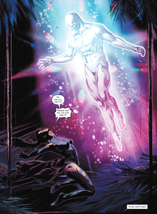 Psylocke with a broken spine while a glowing figure descends