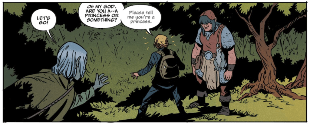 Panel from Folklords #2 by Jim Campbell (letterer), Matt Kindt (writer), Chris O'Halloran (colorist), and Matt Smith (artist) depicting Ansel asking the unnamed woman if she's a princess
