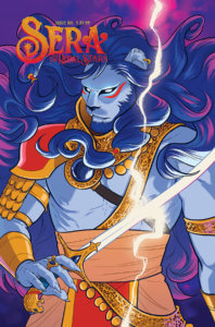 A blue lion-headed god holds a sword crackling with lightning