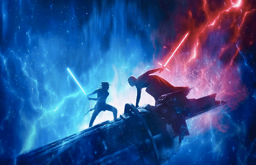 Rey and Kylo Ren face down with their lightsabers in a promo image for Star Wars: The Rise of Skywalker