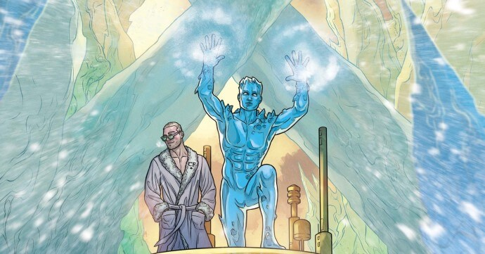 Ice Man uses his ice powers while Christian Frost stands behind him on the ship wearing a robe