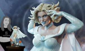 a detail photo of a statue of the character emma frost has her hands up to her hair