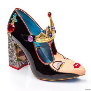 a high heeled shoe has the face of Snow White's stepmother