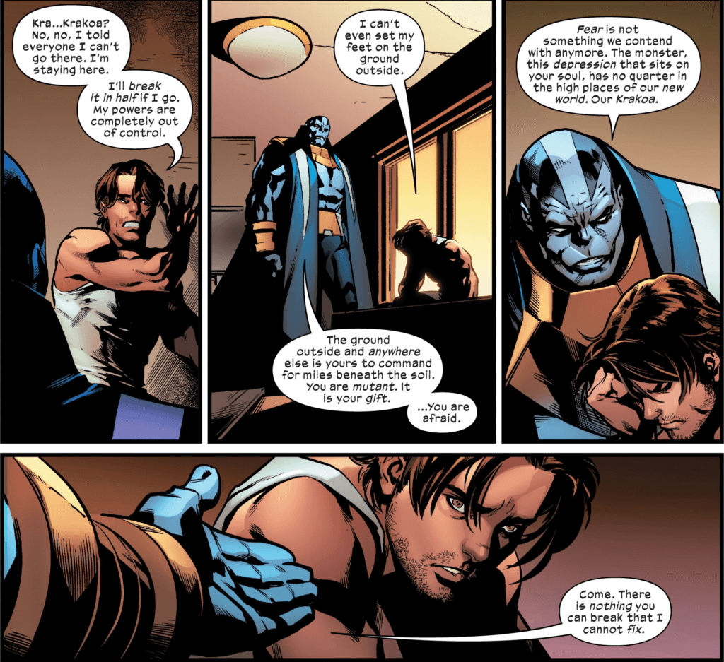 Dadpocalypse seeks Rictor out and extends a hand in help.
