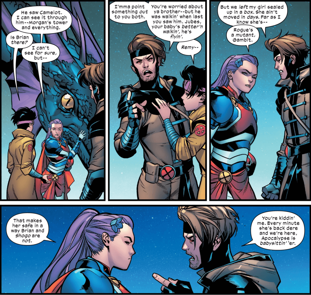 Captain Britain, Gambit, and Jubilee argue as they each want to save their own loved one first.