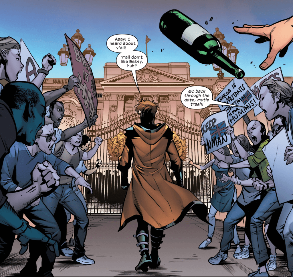 Gambit faces down anti-mutant bigots at Buckingham Palace.
