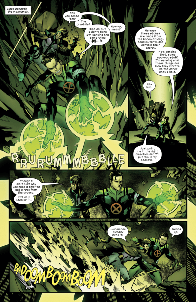 Rictor and Gambit's heist to the center of the earth.