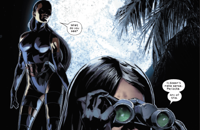 X-23 perfectly explaining Fallen Angels #4 to Kwannon