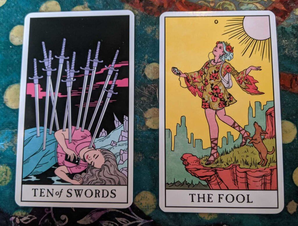 The Ten of Swords & the Fool were two of the first cards drawn for the Modern Witch Tarot