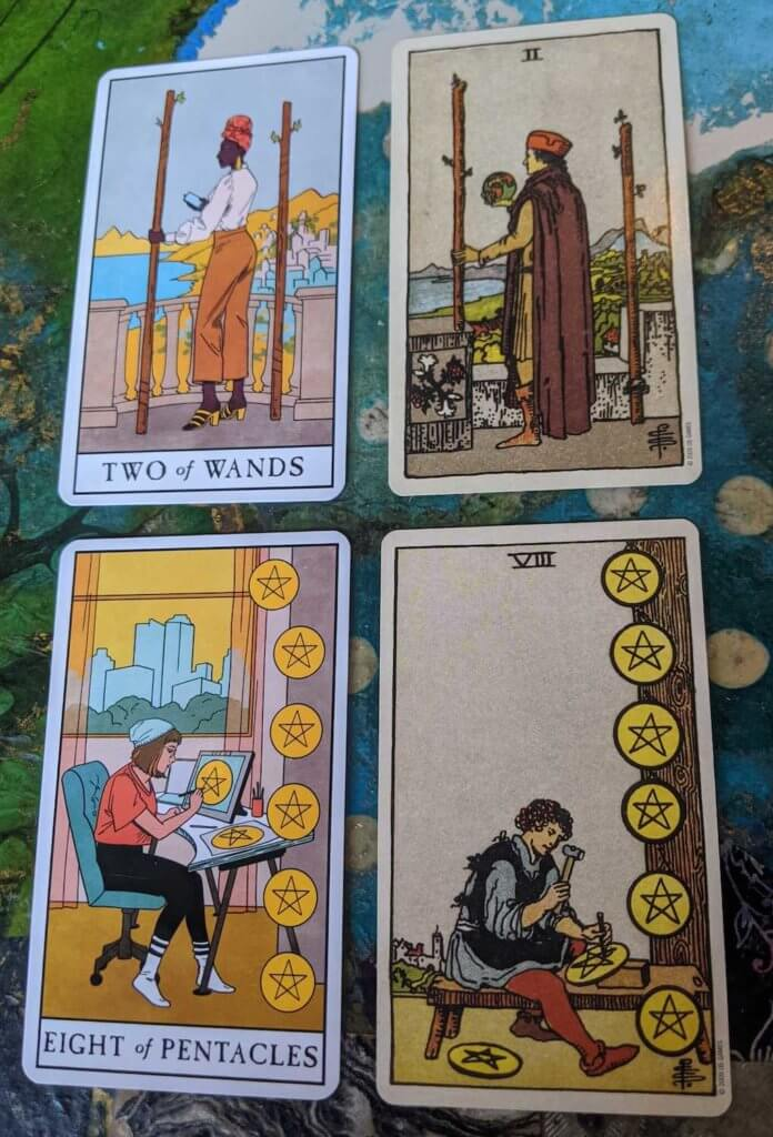 The Two of Wands & the Eight of Pentacles, pictured with their counterparts in the Smith-Waite deck