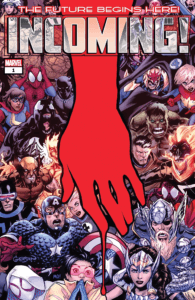 A red hand drips blood over a group picture of various Marvel heroes