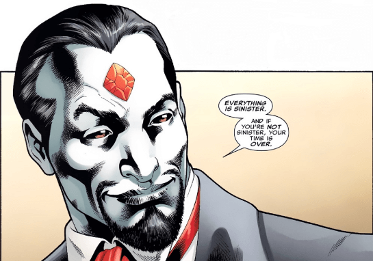 Closeup of Sinister with an arrogant smirk on his face