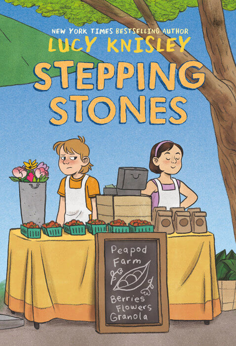 Cover of Stepping Stones by Lucy Knisely: two kids stand behind a table at a farm stand. One looks annoyed, the other smug