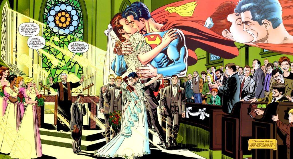 superman wedding kiss