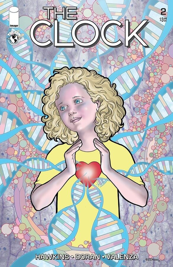 A curly haired little blond girl looking angelic, holding a heart-shape in her hands, surrounded by DNA strands infected by the new cancer