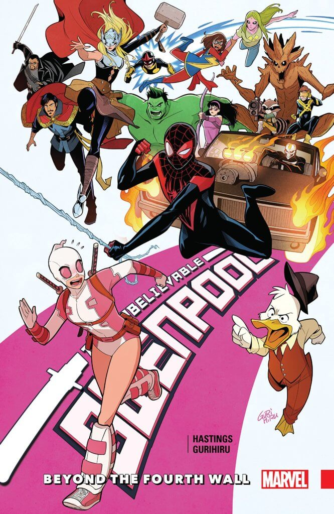 Gwenpool is chased by a whole bunch of Marvel characters