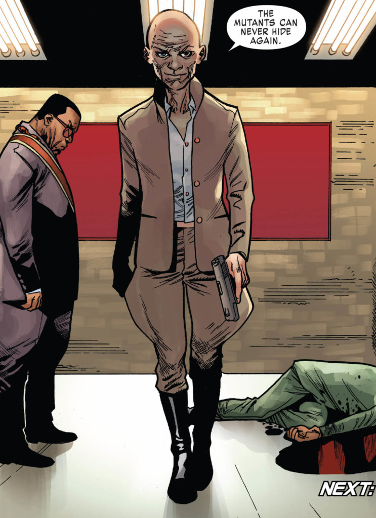 Cassandra Nova walks toward the frame holding a gun, dressed like a fascist