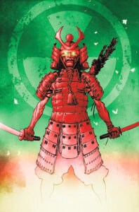 Samarai standing in front of a radiation symbol