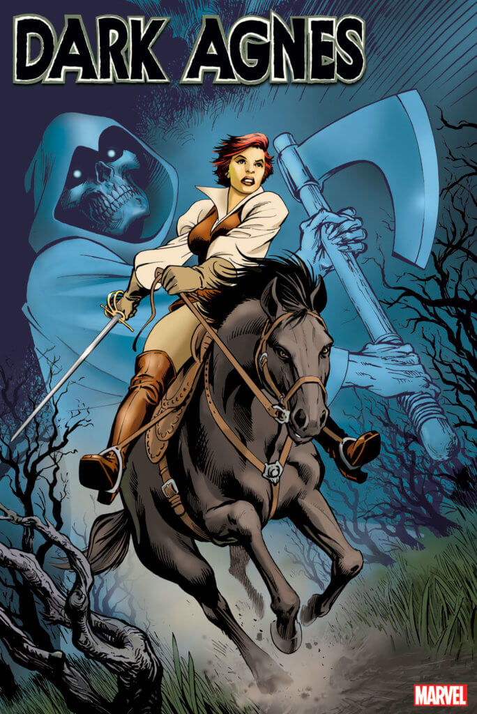 A woman with short red hair rides off on a black horse, a sword in her hand