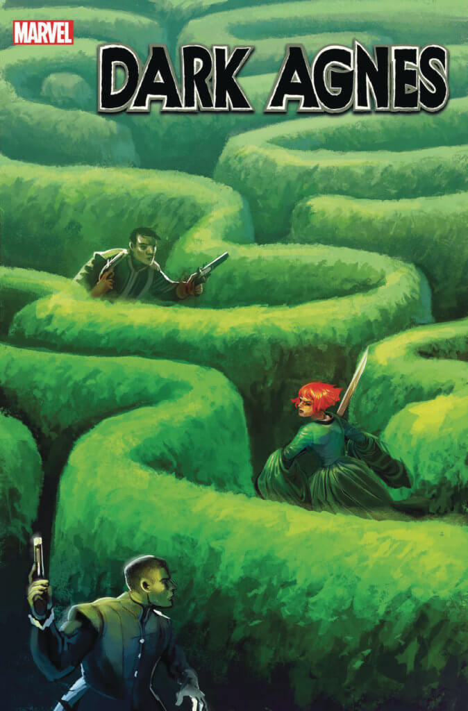 People run through a curving maze of bushes