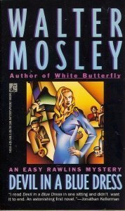 the cover of Devil in a Blue dress shows a blonde woman in a blue dress