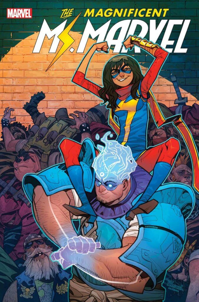 Cover of Magnificent Ms. Marvel #13 by Eduard Petrovich depicting Kamala Khan as Ms. Marvel and Fadi Fadlallah as Amulet
