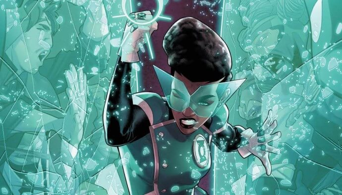 Lantern Mullein holds off raging protesters using her Green Lantern force field