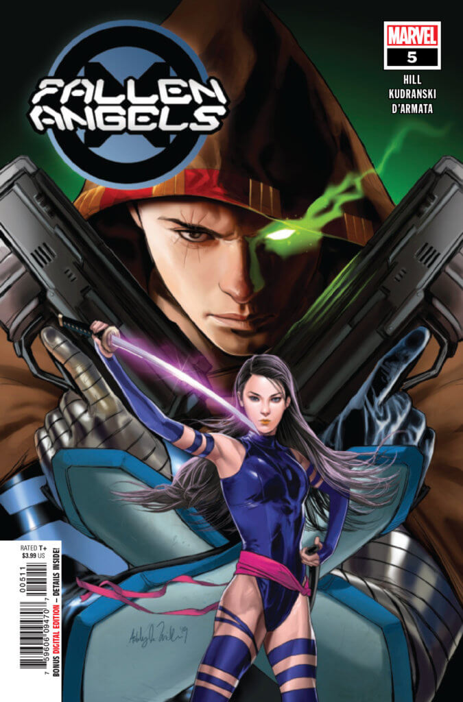 Psylocke in front of Cable on the cover of Fallen Angels #5