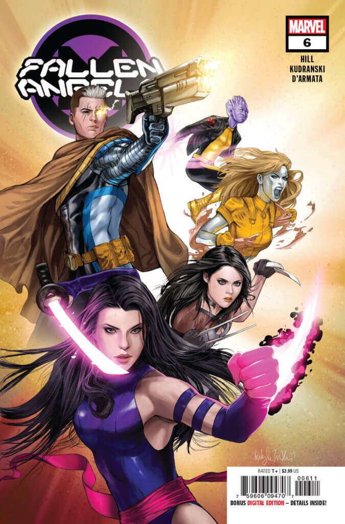 Fallen Angels #6 cover - Psylocke, X-23, Cable, Husk and Bling! leaping at the reader
