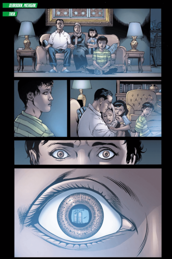 Green Lantern #0 page written by Johns, pencilled by Mahnke, inked by Christian Alamy, Keith Campagne, and Mark Irwin, and colored by Tony Avina and Alex Sinclair depicting Simon Baz and family on 9/11
