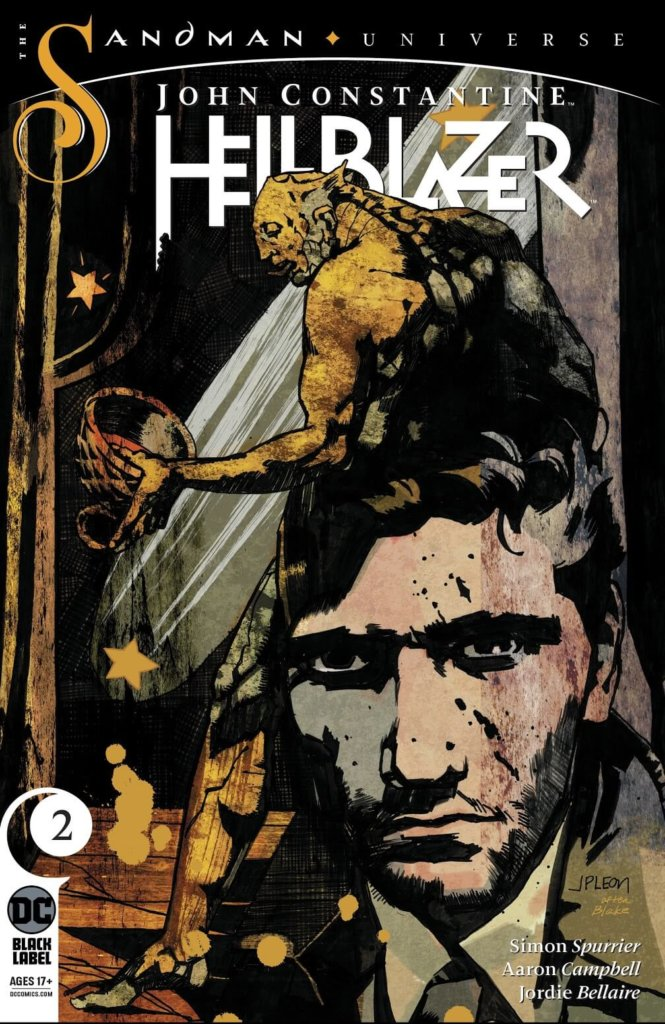 The cover of John Constantine: Hellblazer #2, showing a demonic figure rising out of John Contantines head.
